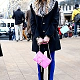 A bright Rebecca Minkoff bag provided the Spring antidote to this fur-collared coat.