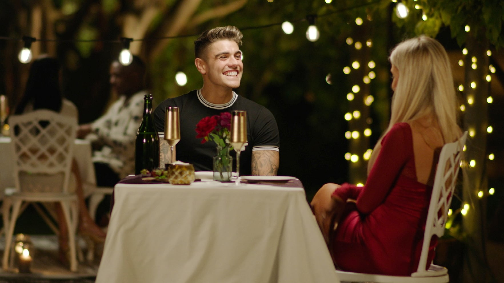 From ITV StudiosLove Island: SR6: Ep13 on ITV2Pictured: Luke M and Jess on a date.This photograph is (C) ITV Plc and can only be reproduced for editorial purposes directly in connection with the programme or event mentioned above, or ITV plc. Once made available by ITV plc Picture Desk, this photograph can be reproduced once only up until the transmission [TX] date and no reproduction fee will be charged. Any subsequent usage may incur a fee. This photograph must not be manipulated [excluding basic cropping] in a manner which alters the visual appearance of the person photographed deemed detrimental or inappropriate by ITV plc Picture Desk.  This photograph must not be syndicated to any other company, publication or website, or permanently archived, without the express written permission of ITV Picture Desk. Full Terms and conditions are available on the website www.itv.com/presscentre/itvpictures/termsFor further information please contact:james.hilder@itv.com / 0207 157 3052