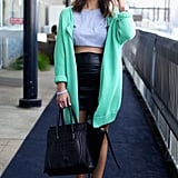 For cool-girl inspiration, this crop top, leather pencil skirt, and oversize mint-hued cardigan look had just the right amount of edgy appeal for Sarah Donaldson from Harper and Harley.