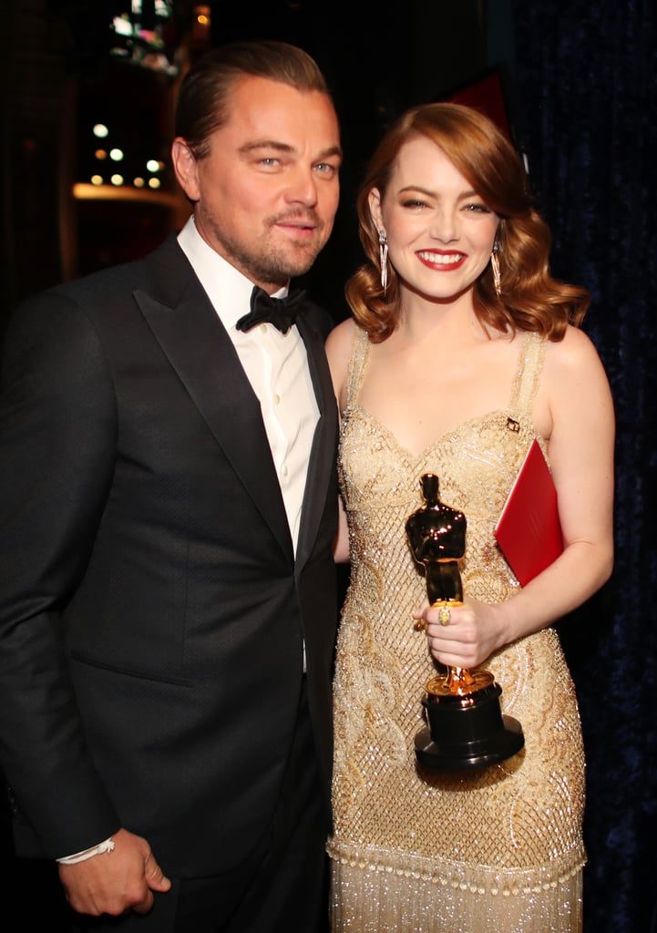 Emma Stone had a huge night at the Oscars on Sunday, taking home her first Academy Award for best actress and sharing a handful of adorable moments with her friend and La La Land costar Ryan Gosling. In addition to thanking Ryan during her acceptance speech and meeting up with him backstage, Emma also had a cute encounter with Leonardo DiCaprio, who presented her with her Oscar on stage. Their chemistry both on stage and behind the scenes caught our attention almost immediately — wouldn't they be really cute together? Like, together together? We know, we know: Leo is currently dating Sports Illustrated model Nina Agdal, and Emma's ex Andrew Garfield was front and center to see her big win, but we can't help but ship them a little.      Related:                                                                Take a Trip Down Memory Lane With Emma Stone and Andrew Garfield's Relationship Timeline                                                                   A Not-So-Brief History of All the Ladies Leonardo DiCaprio Has Dated