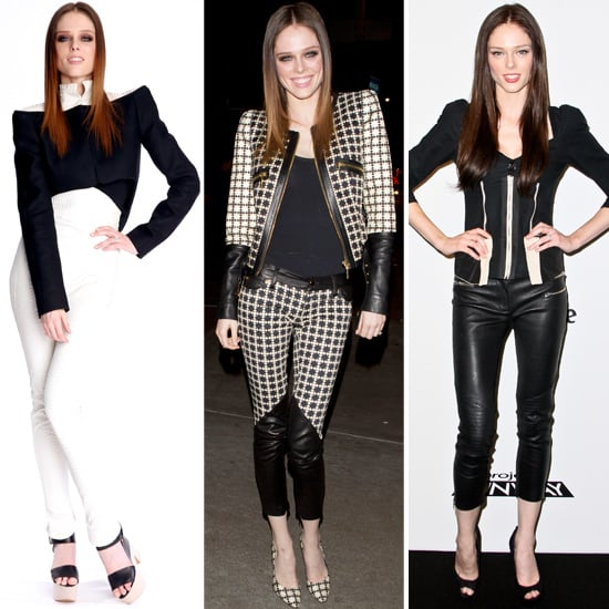 Supermodel Coco Rocha has always been a fan of black and white style way ahead of the most popular 2013 trend. Take for example her outfit in the centre that she was seen wearing last night in Los Angeles. This cropped jacket and patterned pantsuit is similar to the one that was just unveiled at Topshop earlier today. Her look on the left was also from yesterday. I just love this edgy high fashion ensemble that she pulls off so elegantly. Scroll through 7 black and white outfits she has worn over the last 7 months and let me know if this is a style you'll be donning this year too.