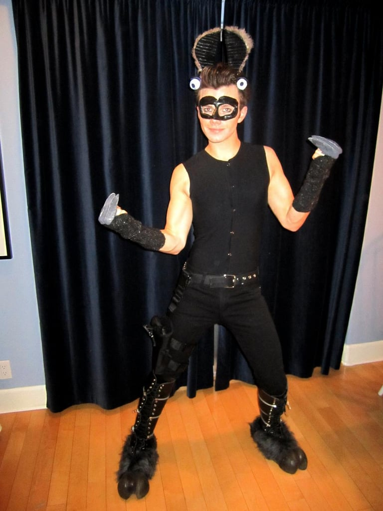 Chris Colfer struck a pose as a llama assassin dressed in all black. Source: Twitter user chriscolfer