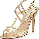 Diane von Furstenberg Viola Metallic T-Strap Sandal, Gold ($350)