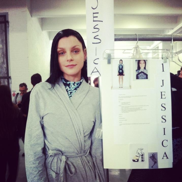 Jessica Stam showed off her look backstage at Rodarte. Source: Twitter user Jess_Stam