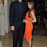 Lea Michele posed in a fitted tangerine sheath next to Glee — and real-life — beau, Cory Monteith.