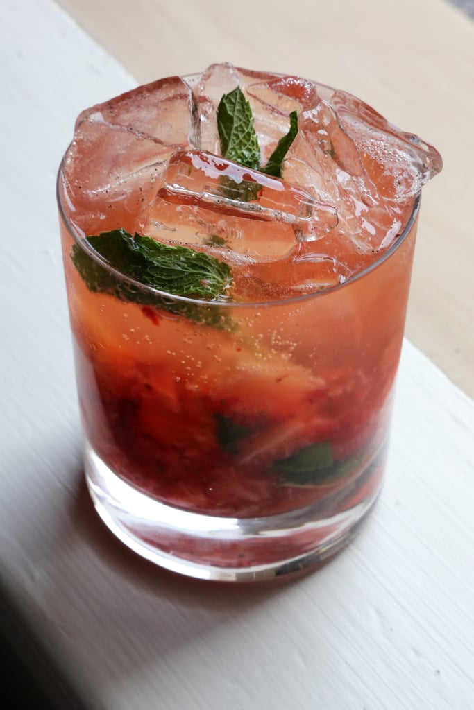 Vanilla, Mint, Strawberry, and Bourbon Cocktail