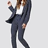 NA-KD Navy Striped Blazer and Suit Pants