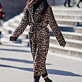 Style Your Leopard-Print Coat With: A Black Turtleneck, Pants, and Heeled Boots