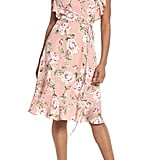 Charles Henry Ruffle Sleeve Floral Wrap Dress