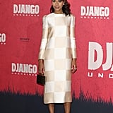 Kerry went for a girlie '60s-inspired look for Django Unchained's photocall in Berlin, wearing a white-and-cream long-sleeved checkerboard-print dress (and dainty bow headband) from Louis Vuitton's Spring 2013 ready-to-wear collection.