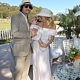 Rodger Berman and Rachel Zoe carried Skyler Berman around a polo match.