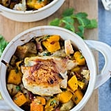 Chicken Thighs With Caramelized Onion, Butternut Squash, and Bacon