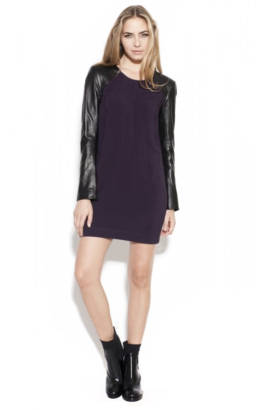 Sleek leather sleeves give this Mason dress ($177, originally $633), with special code EXTRA60POP, just the right amount of edge.