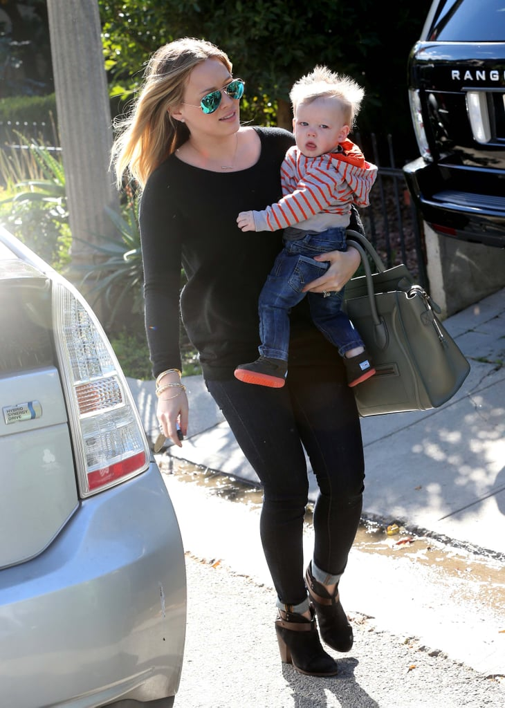 Hilary Duff dressed Luca Comrie in a red striped hoodie.
