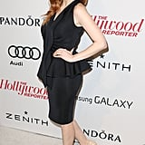 Jessica Chastain paired her black dress with nude heels.