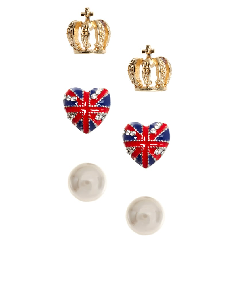 These cute studs will add just the right amount of UK spirit into any look.  River Island Pack Of Three Pearl Crown And Union Jack Heart Earrings ($12)