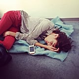 Alexa Chung squeezed in a power nap. Source: Instagram user chungalexa