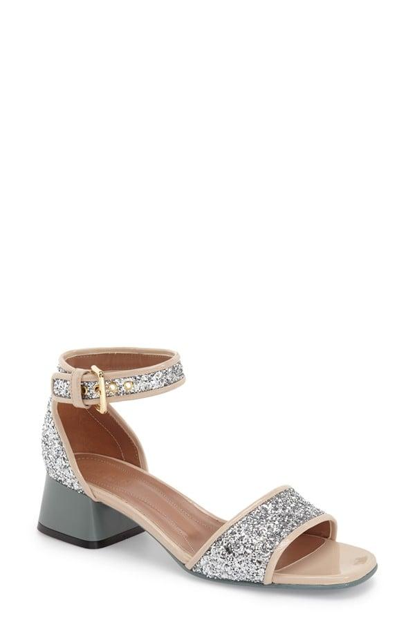 """Marni """"Peep"""" Block Heel Glitter Sandal ($720)"""