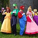 Waluigi, Princess Daisy, Luigi, Mario, Princess Peach, and Wario