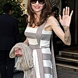 Angelina Jolie Striped Dress in Paris 2019