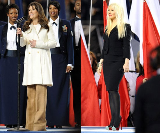 Lea Michele and Christina Aguilera's Outfits at the 2011 Super Bowl