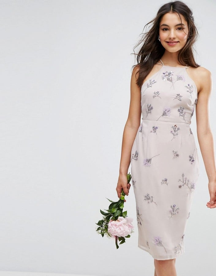 Asos Embellished Drape Back Midi Dress Asos Wedding Guest Dresses