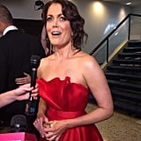Bellamy Young chose a red gown for the dinner.