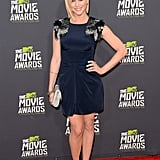 Brittany Snow wore a navy-blue dress for the MTV Movie Awards.