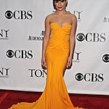Lea Michele looked like a golden mermaid in her strapless Zac Posen; love that marigold color.