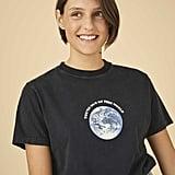 Alexa Chung Black Boxy T-Shirt World Print