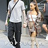 Ariana Grande Outfit: A Plaid Flannel + Miniskirt + Fendi Bag