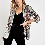 River Island Pink Sequin Ruched Sleeve Blazer