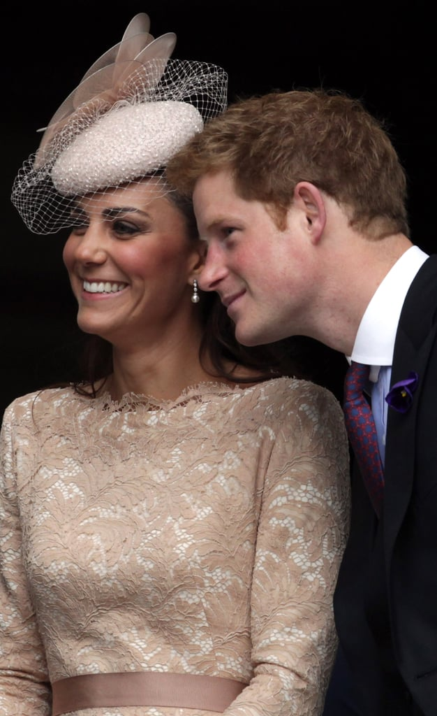 In June 2012, Prince Harry leaned in and Kate got the giggles during a Service of Thanksgiving at St. Paul's Cathedral in London.