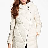 The asymmetrical collar on this Metro Hooded Down Coat ($178) makes it chicer than most, and so does its Winter-white hue.