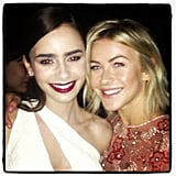 Julianne Hough shared a sweet photo of herself with her friend Lily Collins at the Mortal Instruments premiere in LA. Source: Instagram user juleshough