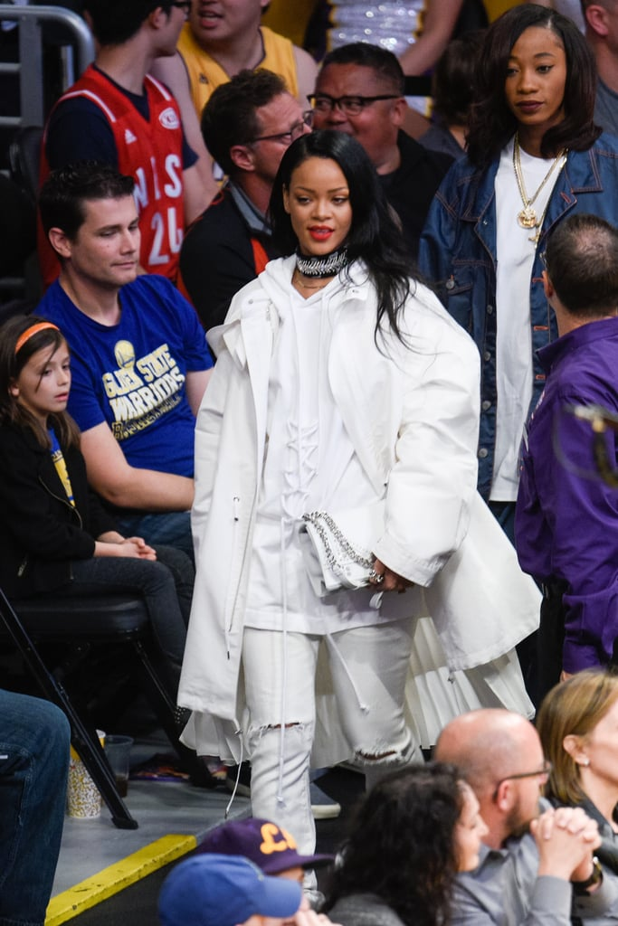 She Wore All White Layers to a Basketball Game