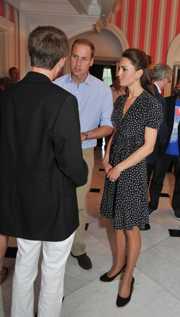 """The Duke and Duchess of Cambridge, Prince William and Kate Middleton, closed out the first day of their North American tour by attending an informal barbecue at Rideau Hall in Ottawa. Kate and William greeted some of the young people selected to attend the event, which honored the """"efforts of Canadian youth towards a smart and caring nation."""" Kate Middleton wore Issa and her famous LK Bennet wedges for the evening, which was originally scheduled to take place outside, but was moved when there were sudden rain showers. There's no time for the royal newlyweds to have any jetlag, as the first day of their tour was jam packed with appearances. Kate Middleton wore Canadian designer Erdem for their first stop in Ottawa, where Prince William addressed the crowd gathered for a glimpse at the gorgeous duo. Tomorrow will be another huge day for William and Kate, when they take part in the Canada Day celebrations in the city."""