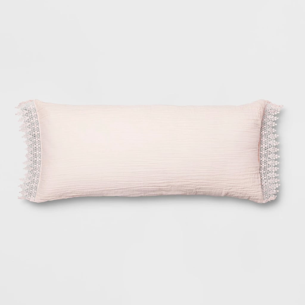 Blush Lace Trim Oversized Lumbar Pillow
