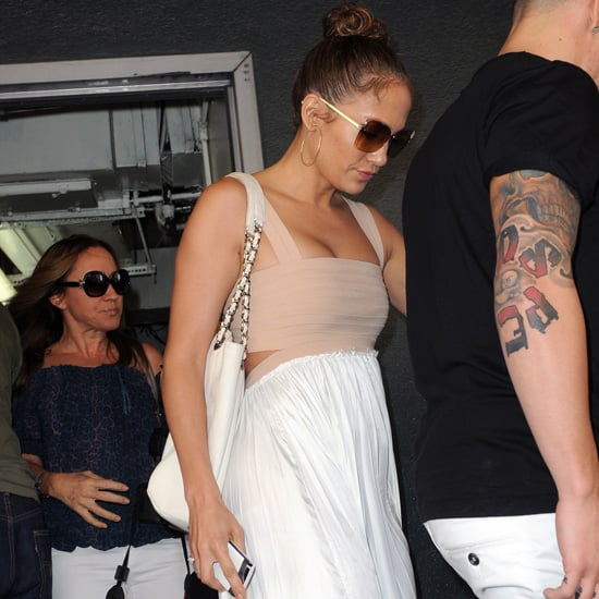 Who Designed Jennifer Lopez's White and Nude Maxi Dress?