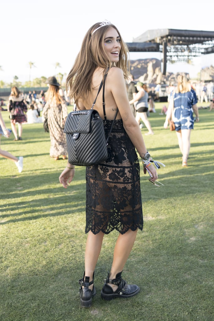 06c842ecb33489 Chiara Ferragni wearing a Chanel backpack. | Coachella Fashion 2016 ...