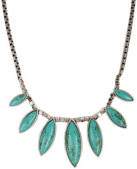 Offset a white t-shirt or button-down with this Lucky Brand silver-tone faux turquoise collar necklace ($45).
