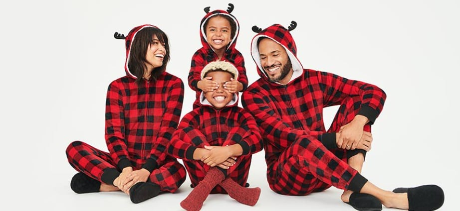 Matching Family Christmas Buffalo Union Suit Pajamas