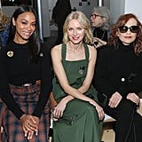 Zoe Saldana, Naomi Watts, and Isabelle Huppert at Tory Burch Fall 2019