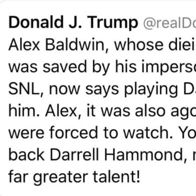 Trump Tweet Calling Alec Baldwin Alex and Misspelling Dying