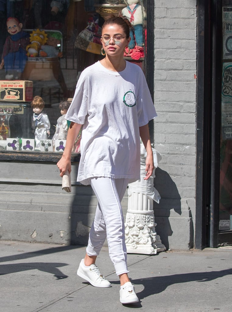 We Can't Help but Stop and Stare at Selena Gomez's Sleek White Sneakers