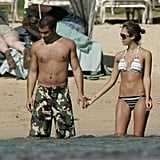 Jessica and Cash waded in the water together during their trip to Hawaii in January 2006.