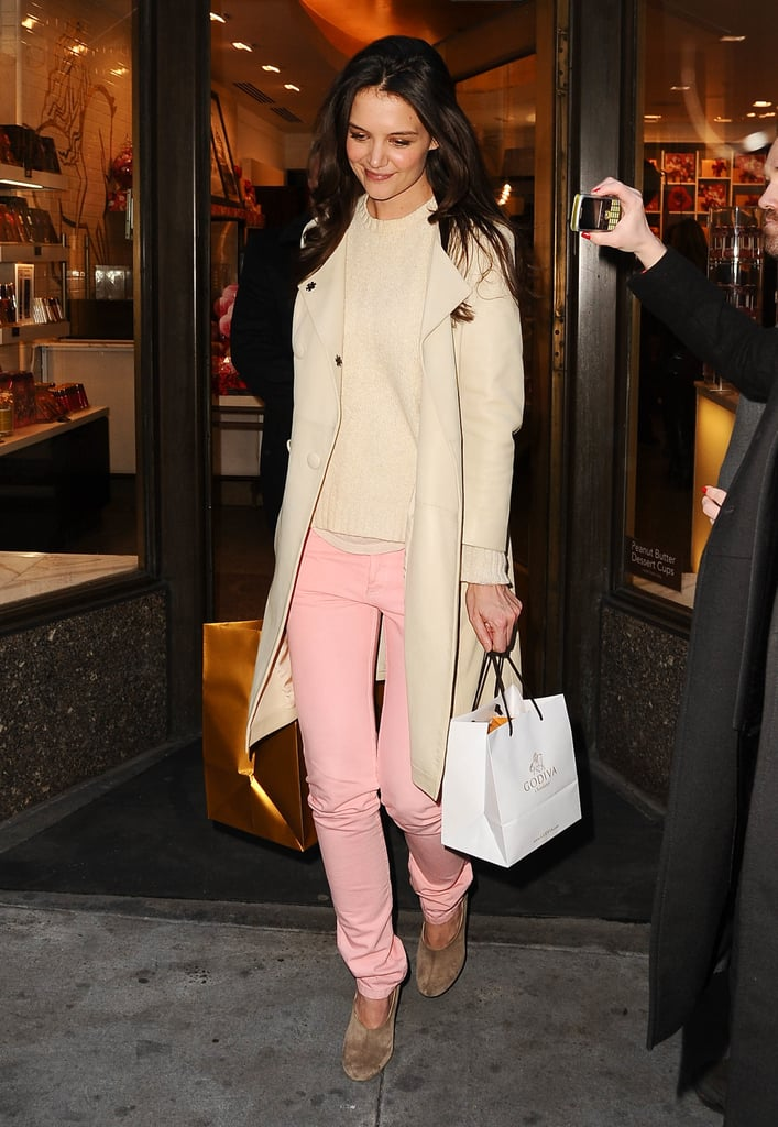 Katie Holmes looked pretty in pink pants as she and her mum hit Godiva for a chocolate fix in New York on February 1.