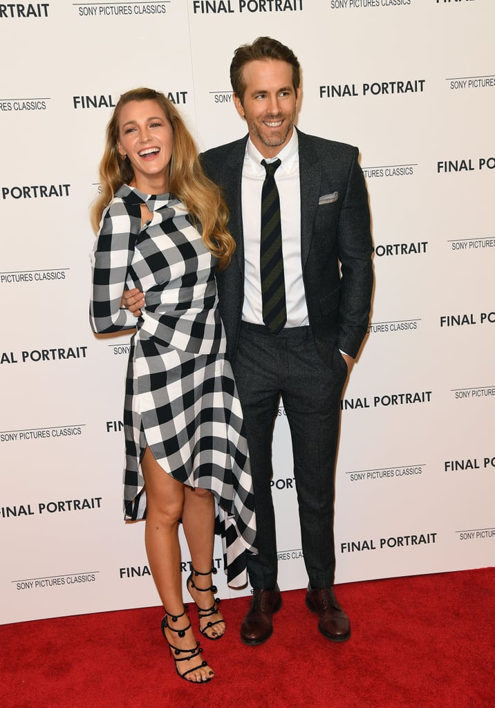 After almost a year of keeping us waiting, Blake Lively and Ryan Reynolds finally hit the red carpet together at the NYC premiere of Final Portrait on Thursday evening. Blake looked flawless in a black and white gingham dress, while Ryan cut a suave figure in dark gray tux. The couple exchanged loving looks and smiles while snapping photos together, but what made the event extraspecial was that it marked Blake and Ryan's first red carpet appearance in almost a year! That's right — can you believe it's been that long?  The last time we swooned over the picture-perfect pair was at the Met Gala last May, though Blake did hit the red carpet just last week with her mom, Elaine, and older sister Robyn at the launch of Lorraine Schwartz's new jewelry line in LA. Oh, and did you happen to catch Ryan's joke about Blake in the new Deadpool 2 trailer? We've missed you, Blake and Ryan!