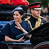 June: Meghan made her first official postbaby appearance at Trooping the Colour with Harry and the rest of the royals.