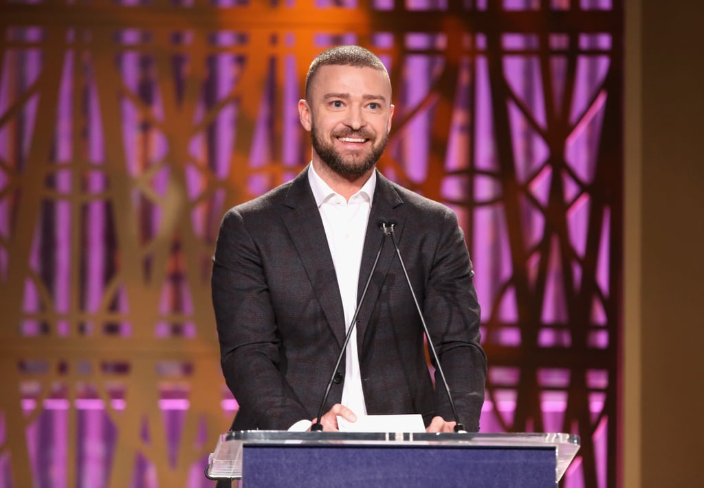 "Justin Timberlake helped honour some incredible women during The Hollywood Reporter's Power 100 Women in Entertainment breakfast on Wednesday. As one of the few men on hand for the ceremony, the singer gave an impassioned speech to the women in the room, but not before breaking the ice with a few jokes. ""Angelina [Jolie] warned me that I was basically only here to be objectified so that's absolutely fair,"" he joked on stage. ""I'd like to say to all of the women — strong, beautiful souls: I'm happy to be here to be your arm candy . . . When The Hollywood Reporter called me and asked me to be your b*tch, I said, 'Oh, I might like that.'""  Of course, being ""objectified"" wasn't the only reason he was there. During the ceremony, the singer presented scholarships for The Hollywood Reporter's Women in Entertainment Mentorship program. ""I was raised by a strong woman,"" Justin continued during his speech. ""I was lucky enough to convince a strong woman [Jessica Biel] to marry me, and she got nominated for a Critics' Choice Award today. I will be her b*tch anytime.""  Aside from singing his mother and wife's praises, Justin took a moment to address men in Hollywood. ""To the men in this room. I see a lot of great men who I also look up to. I think we actually are here because we deserve the opportunity to speak up, to stand when something is not right. We need to go to work. It's not our responsibility; it's our privilege, because at the end of the day if you can be lucky enough to be raised by a strong woman and convince a strong woman to marry you, you will realize that we are nothing without the strength of women."""